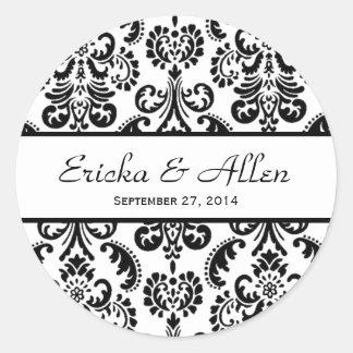 Wedding Damask Black and White V01 Round Stickers