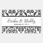 Wedding Damask Black and White V02 Rectangular Sticker