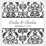 Wedding Damask Black and White V04 Square Sticker