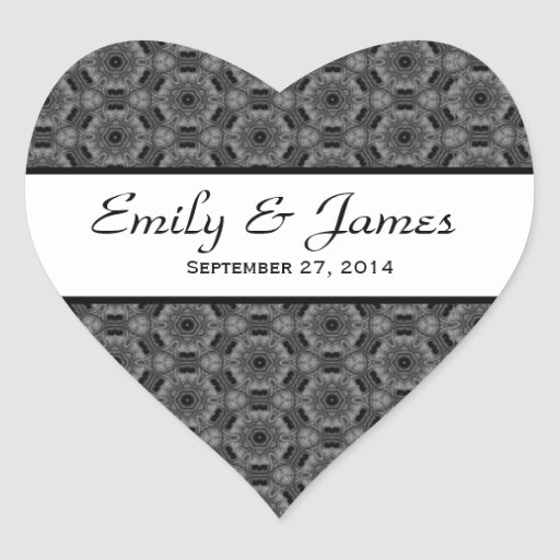 Wedding Damask Black and White Y192 Heart Sticker