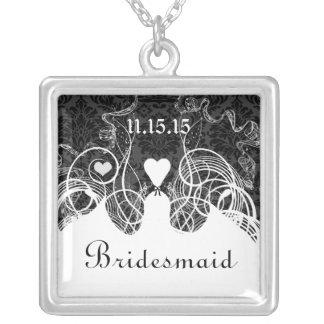 Wedding Damask Bridesmaid Keepsake Necklace