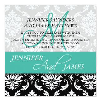 Wedding Damask Monogram Name Turquoise Invitation