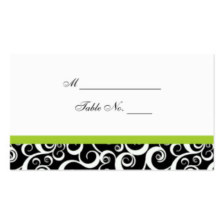 Wedding Damask Swirls Table Place Card in Green Business Cards