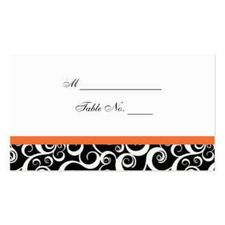 Wedding Damask Swirls Table Place Card in Orange Double-Sided Standard Business Cards (Pack Of 100)