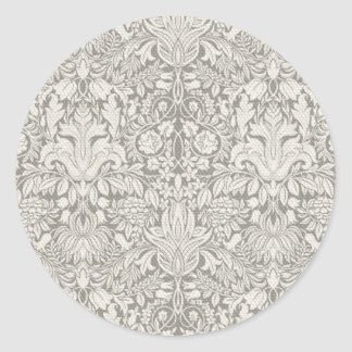 Wedding Damask Vintage White Wedding Old Lace Classic Round Sticker