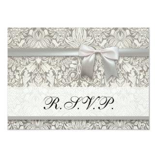 Wedding Damask Vintage White Wedding Old Lace 4.5x6.25 Paper Invitation Card