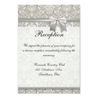 Wedding Damask Vintage White Wedding Old Lace 3.5x5 Paper Invitation Card