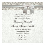 Wedding Damask Vintage White Wedding Old Lace Announcements
