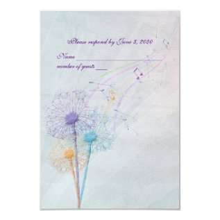 Wedding Dandelion And Music Rsvp Card at Zazzle