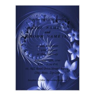 Wedding - Dark Blue Abstract Flowers Card