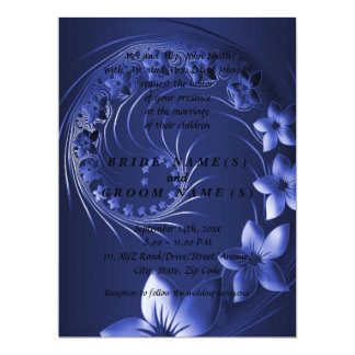 Wedding - Dark Blue Abstract Flowers 6.5x8.75 Paper Invitation Card