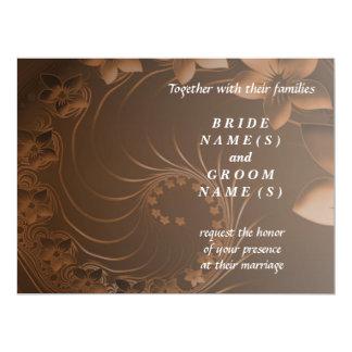 Wedding - Dark Brown Abstract Flowers 6.5x8.75 Paper Invitation Card