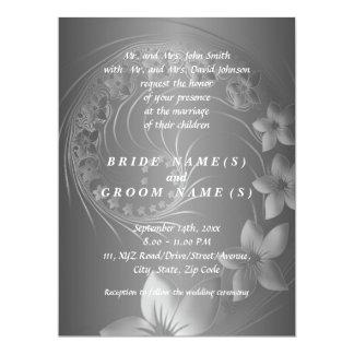 Wedding - Dark Gray Abstract Flowers Card