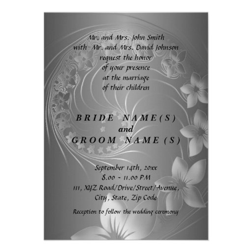 Wedding - Dark Gray Abstract Flowers Personalized Invitation
