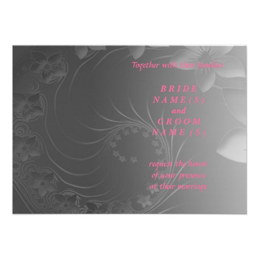 Wedding - Dark Gray Abstract Flowers Announcement