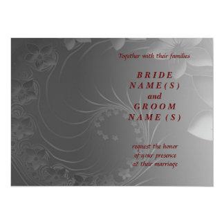 Wedding - Dark Gray Abstract Flowers 5.5x7.5 Paper Invitation Card