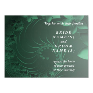 Wedding - Dark Green Abstract Flowers Card
