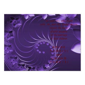 Wedding - Dark Violet Abstract Flowers Card