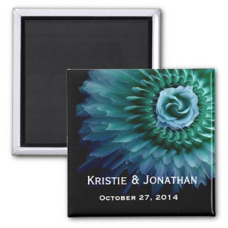 Wedding Date  Blue Teal Rose and Feather Petals Magnets