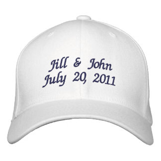 Wedding Date Couple Names Announcement Navy Hat Embroidered Hats
