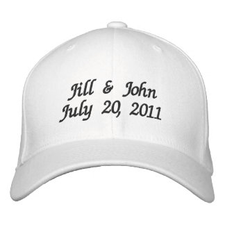 Wedding Date Couple Names Announcement White Hat Embroidered Hats