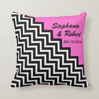 Wedding Date Engagement Gift Couple's Names ZigZag Throw Pillow