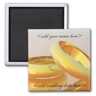 Wedding Date Favors 2 Inch Square Magnet