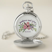 Wedding Date Lavender And Pink Floral Bouquet Pocket Watch