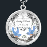 """Wedding Date Lucky Bluebird Anniversary Necklace<br><div class=""""desc"""">Keepsake Necklaces Choose either Silver Plated or Sterling Silver</div>"""