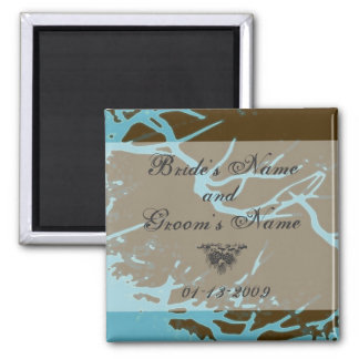 Wedding Date Magnet - Wintery Branch - Brown/Blue