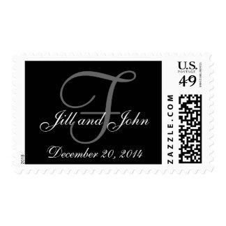 Wedding Date, Names Monogram F Postage Stamps