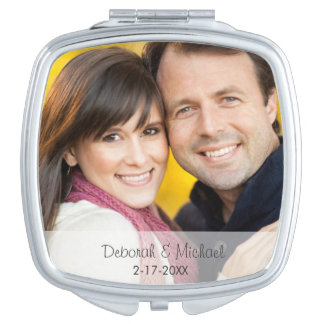 Wedding Date Photo Mirror Compact Mirror For Makeup