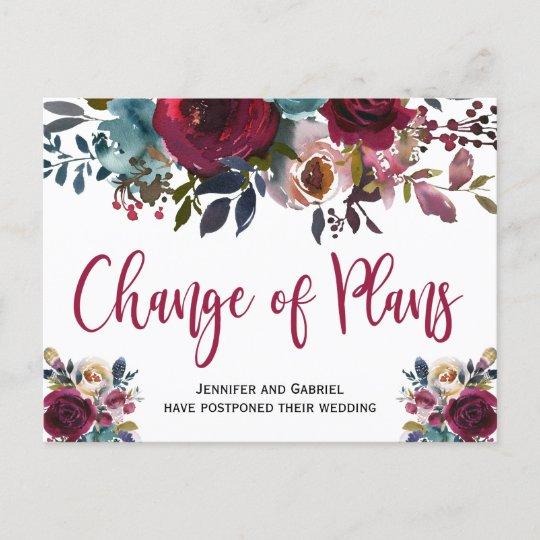 Wedding Date Postponed Burgundy Navy Floral Announcement Postcard