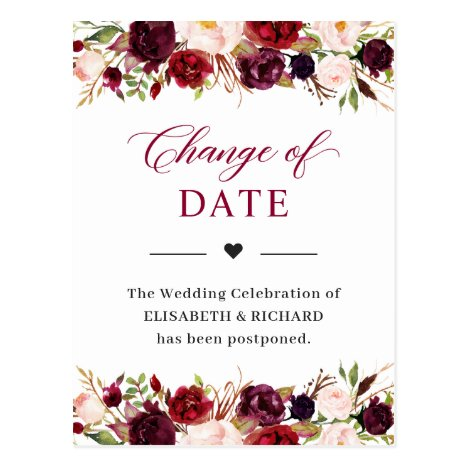 Wedding Date Postponed Burgundy Red Blush Floral Postcard