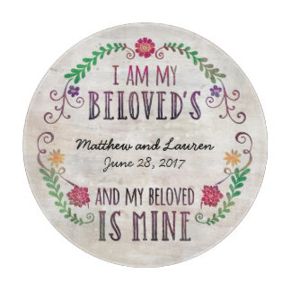 Wedding Date Watercolor, I Am My Beloved's Cutting Board