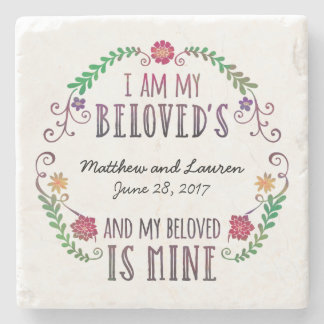 Wedding Date Watercolor, I Am My Beloved's Stone Coaster