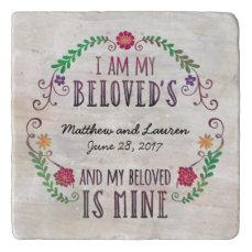 Wedding Date Watercolor, I Am My Beloved's Trivet