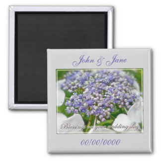 Wedding Day Blessings Blue Lace Hydrangea 2 Inch Square Magnet