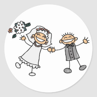 Wedding Day Bride Groom Smiling Happy Couple Classic Round Sticker