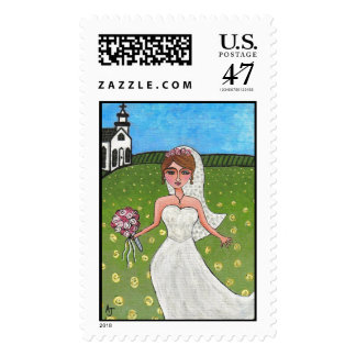 Wedding Day Bride - postage stamp