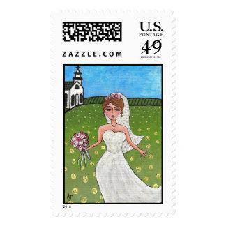 Wedding Day Bride - postage stamp