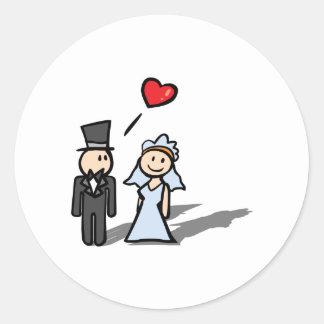 """Wedding Day"" couple design Classic Round Sticker"