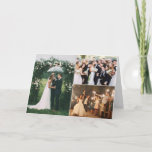 """Wedding Day Custom Photo Collage Thank You Card<br><div class=""""desc"""">Customize this thank you notecard with three of your favorite wedding photos to send to your wedding guests to thank them for celebrating your special day with you! Upload three photos to the front side of card (may need to crop photos before uploading) and the inside of card can be...</div>"""