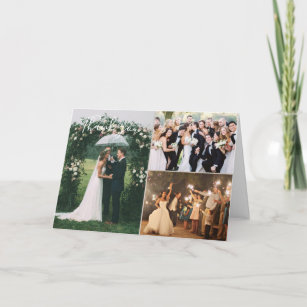 wedding day custom photo collage thank you card - Custom Wedding Thank You Cards