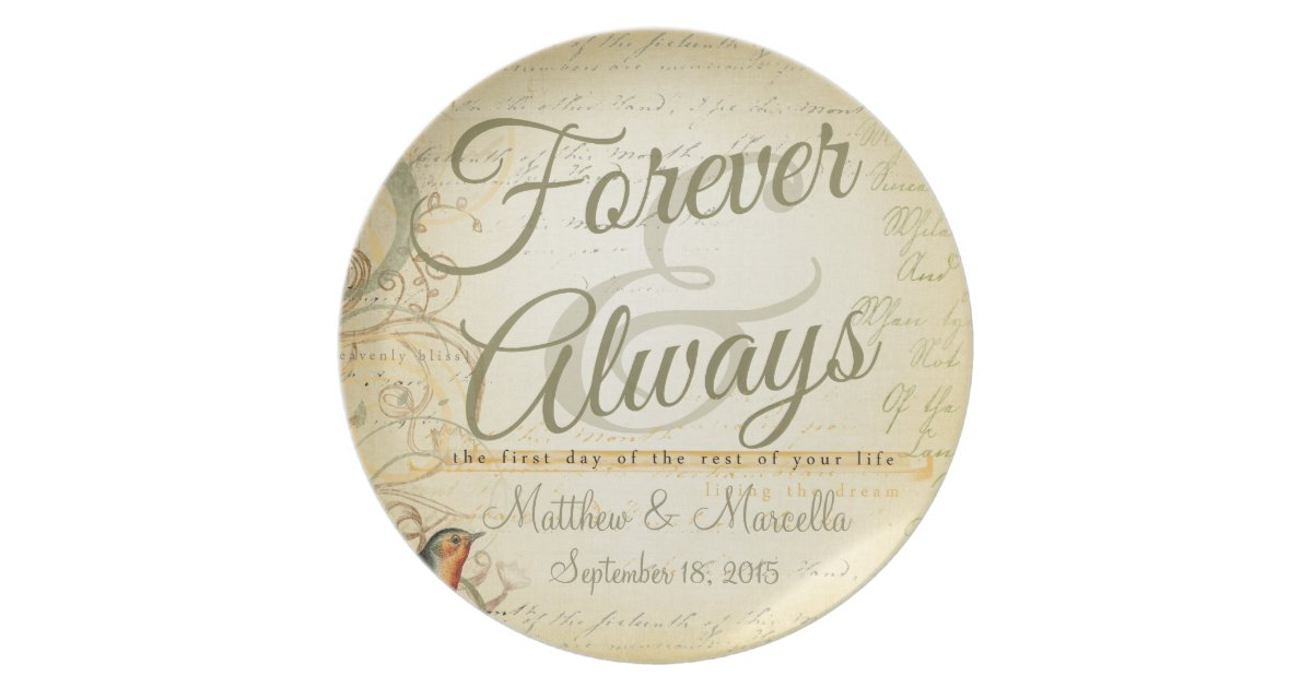 Wedding Day Forever Always Personalized Dinner Plate Zazzle