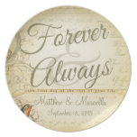 Wedding Day Forever & Always Personalized Party Plate