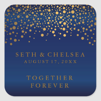 Wedding Day Gold Dots on Navy Blue Satin Square Sticker