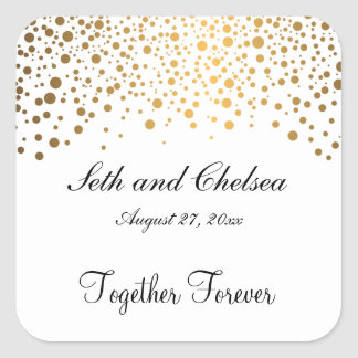 Wedding Day Gold Dots | Personalize Square Sticker