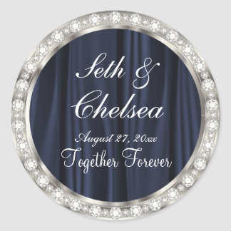 Wedding Day Navy Blue Satin & Faux Diamonds Classic Round Sticker
