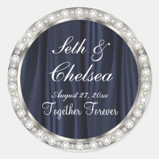 Wedding Day Navy Blue Satin & Faux Diamonds Classic Round Sticker